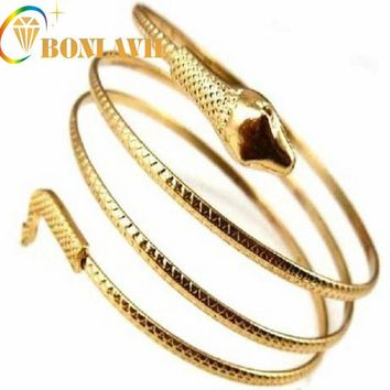 Punk Fashion Coiled Snake Spiral Upper Arm Cuff Armlet Armband Bangle Bracelet Women/Men Jewelry Party Barcelets NYBR17