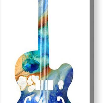 Vintage Guitar - Colorful Abstract Musical Instrument Acrylic Print