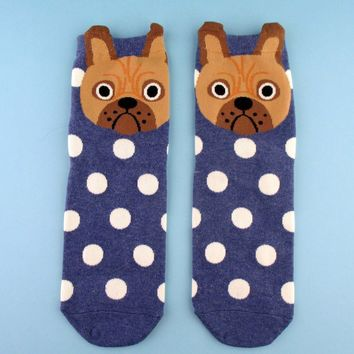 Adorable English Bulldog Face With Polka Dots Pattern Cotton Socks in Blue | DOTOLY