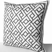 White Silk Gray Embroidered Pillow Cover -Geometric Grey Chippendale Pillows -Custom Pillow -18x18 -Gift -Wedding -Anniversary -Housewarming