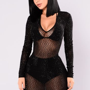 Isabela Rhinestone Dress - Black/Black