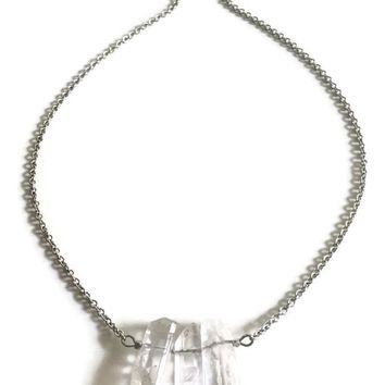 Good Vibes Crystal Quartz Necklace - Silver