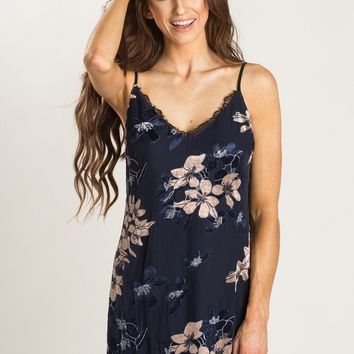 Andrea Navy Velvet Floral Slip Dress