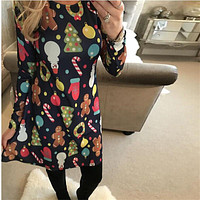 Large Sizes  Autumn Women Casual Long Sleeve Cute Christmas Tree Snowman Dresses Loose Plus Size Dress Vestidos 4XL 5XL