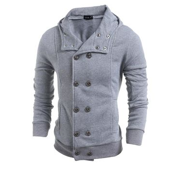 Slim Fit Double Breasted Peacoat Hooded Jacket