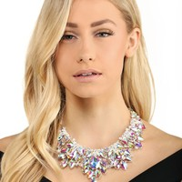 Silver Iridescent Crystals Statement Necklace