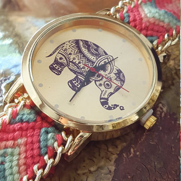 Beautiful boho-style Elephant pattern colorful weaved rope band bracelet, quartz dial wrist Watch.
