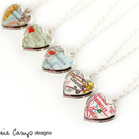 Custom Map Necklace with Small Vintage Silver Heart Locket, Sterling Silver Chain, Personalized, Gift for Her - Made to Order
