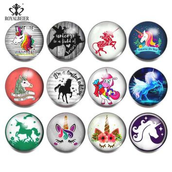 RoyalBeier Sacred Unicorn 18mm Snap Buttons 12pcs/Lot Cabochon Glass Snaps Fit DIY Bracelets For Charms Unisex Jewelry Bijoux