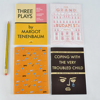 "4 Wes Anderson journals! - ""Three Plays"" by Margot Tenenbaum, Moonrise Kingdom, The Darjeeling Limites, Grand Budapest Hotel"