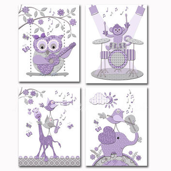 Purple grey music nursery art baby girl room wall decor toddler artwork shower decoration gift elephant owl giraffe guitar violin drums