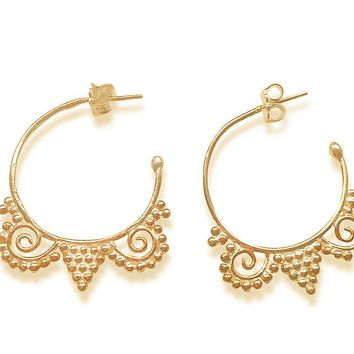 All NEW Empress Hoops Gold Granulated Earrings