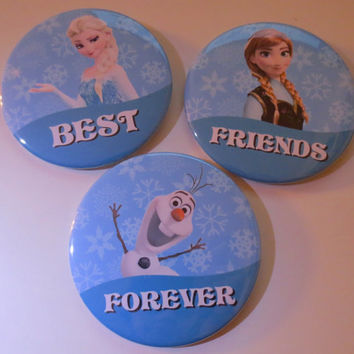 Best Friends Forever Button Set Featuring Anna, Elsa & Olaf