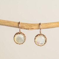 Pearl Gold Earrings - Round Mother of pearl Drop Earrings in 14K Rose Gold - Wire back with hook and lever - Wedding earrings