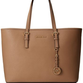 Michael Kors Women's Handbag Medium Jet Set Multifunction Saffiano Travel Tote Dark Khaki