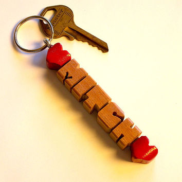 Wood Name Keychain - Double-HeartFob - Choose from 5 Domestic Woods - Handmade to Order in the USA