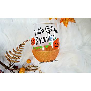 Pumpkin Stemless Wine Glass