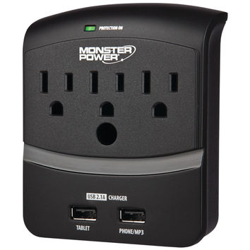 Monster 3-outlet Core Power 350 Wall Tap With 2 Usb Ports