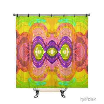 Watercolor, Printed, Printed Fabric, Shower Curtain, Bath Decor, Home Decor, Funky, Art, by Ingrid Padilla