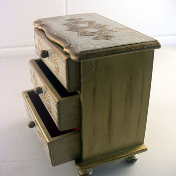 SOLD!  Vintage Florentine Style Jewelry Box 3-Drawer Gilt Wood Musical