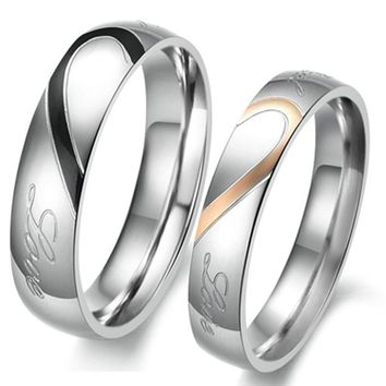 Heart Shape Matching Titanium Men Women Wedding Ring Stainless Steel Wedding Bands Rings (4mm, 5mm)