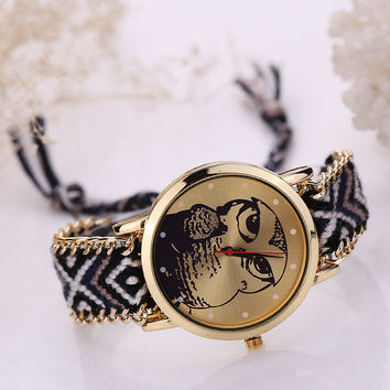 Ladies Korean Handcrafts Diy Watch Owl Bracelet Watch [6047882753]