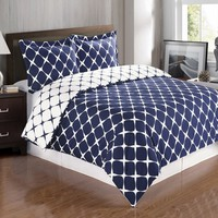 Navy & White Full/Queen 3PC Bloomingdale Duvet Cover Set