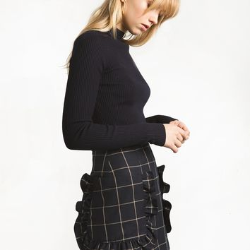 Navy Check Ruffle Pocket Mini Skirt