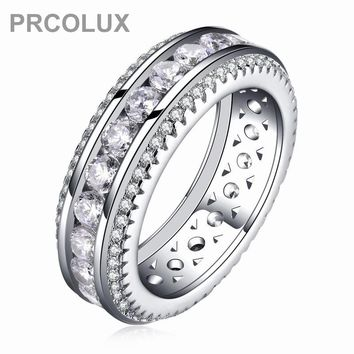 PRCOLUX Vintage Female Geometric Ring Set 925 Sterling Silver jewelry White CZ Wedding Engagement Rings For Women Gifts XA025