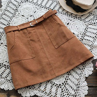 Cupshe Like A Charm Suede Mini Skirt