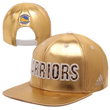 adidas Golden State Warriors Metallic Leopard Logo Snapback Hat - Metallic Gold