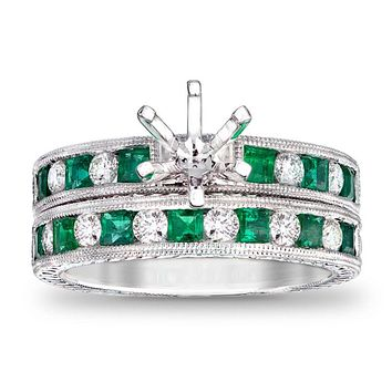 Princess-Cut Emerald and 1/2 CT. T.W. Diamond Semi-Mount Bridal Engagement Ring Set in 14K White Gold