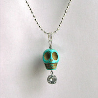 Turquoise Blue Green Day of the Dead Skull Charm by InkandRoses13