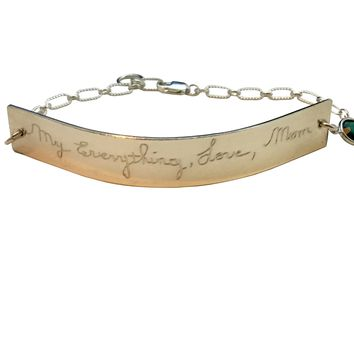 Actual Handwriting Signature Gold or Silver Chain Bracelet