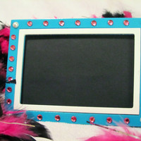 DIVA PICTURE FRAME with pearls & pink rhinestones