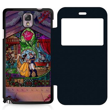 Beauty and The Beast Art Leather Wallet Flip Case Samsung Galaxy Note 3