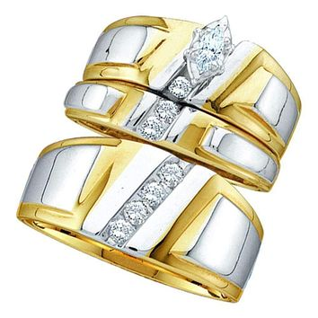 10kt Yellow Gold His & Hers Marquise Diamond Solitaire Matching Bridal Wedding Ring Band Set 1/4 Cttw - FREE Shipping (US/CAN)