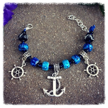 Handmade Anchor & Rudder Wheel Charm Bracelet
