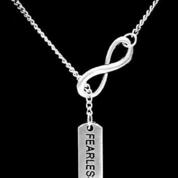 Infinity Fearless Not Scared Inspirational Valentine Gift Lariat Style Necklace