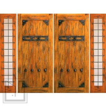 Prehung Double Door with Two Sidelites, Exterior, Knotty Alder