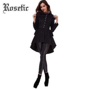 Rosetic Asymmetric Gothic Black Coat Vintage Single-breasted Swallow-tailed Long Sleeve Slim Women Overcoat Popular Spring Coats