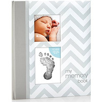 Pearhead Chevron Baby Book with Clean-Touch Ink Pad, Grey