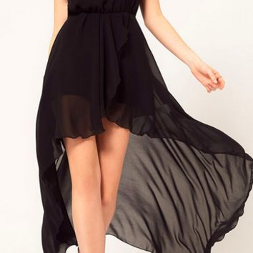 Chiffon Maxi Dress - Black