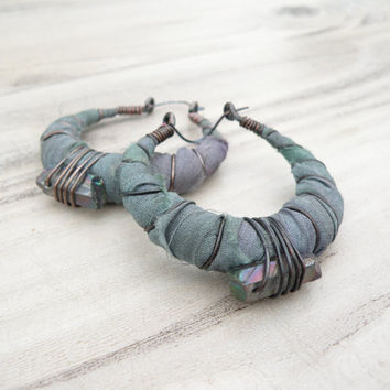 Silk Road Gypsy Hoop Earrings, Medium, Eclectic, Grey-Green and Lavender, Silk Wrapped with Mystic Quartz