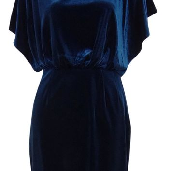 Flutter Sleeves V-Back Velvet Blouson Dress