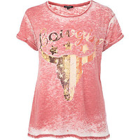 Red burnout cowgirl print t-shirt