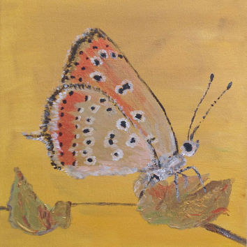 Gold coral butterfly painting, honey yellow background, contemporary art, warm yellow home decor