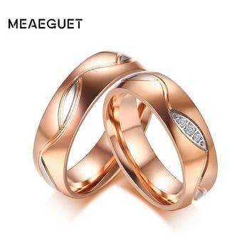 Meaeguet Lover Couple Cubic Zirconia Wedding Bands Rose Gold Color Stainless Steel Engagement Ring For Women Men