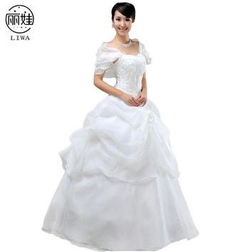 Romantic Retro Cap Sleeve Embroiedery Wedding Dresses Tutu Princess Bride Dress Elegant Party Gowns Vestidos De Novia HS10
