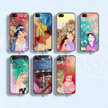Disney princess case Disney phone case Van Gogh and Disney Princess phone case for iphone 4/4s 5/5s Galaxy s3 s4 s5